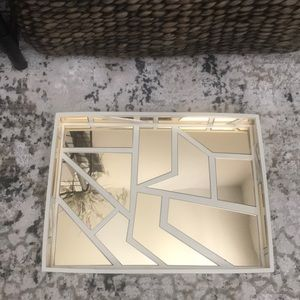 Gold and cream mirrored tray